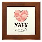 Navy Bride Pink Camo Heart Framed Tile