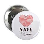 Navy Bride Pink Camo Heart Button