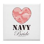 Navy Bride Pink Camo Heart Tile Coaster