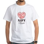 Navy Bride Pink Camo Heart White T-Shirt