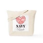 Navy Bride Pink Camo Heart Tote Bag