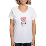 Navy Bride Pink Camo Heart Women's V-Neck T-Shirt