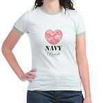 Navy Bride Pink Camo Heart Jr. Ringer T-Shirt