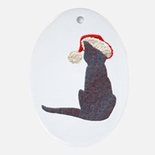 Christmas Cat With Hat Ornament (Oval)