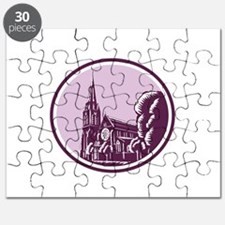 Christchurch Cathedral Woodcut Retro Puzzle