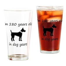 40 dog years black dog 1C Drinking Glass