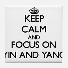 Keep Calm by focusing on Yin and Yang Tile Coaster