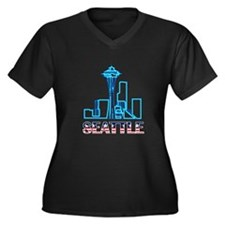 Seattle Space Needle Women's Plus Size V-Neck Dark