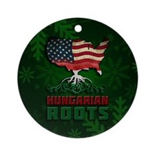 Hungarian American Roots Christma Ornament (Round)