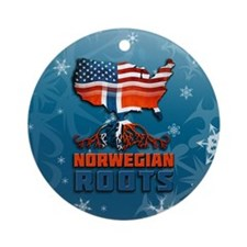Norwegian American Christmas Ornament (Round)