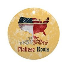 Maltese American Roots Christmas Ornament (Round)