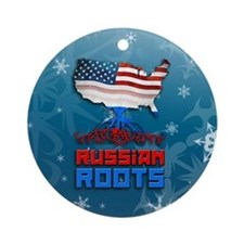 Russian American Christmas Ornament (Round)