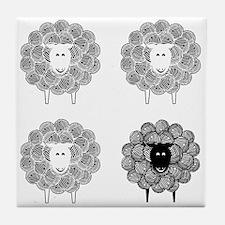 Black Faced Yarn Sheep Tile Coaster