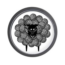 Black Faced Yarn Sheep Wall Clock