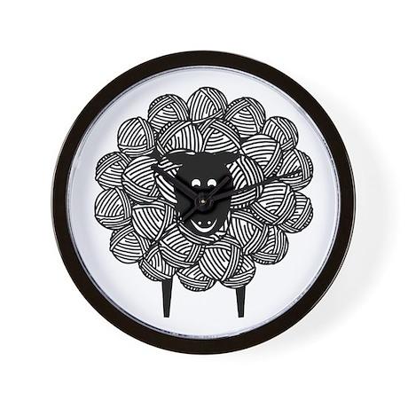 Black Faced Yarn Sheep Wall Clock