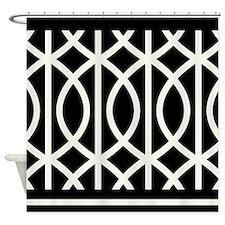 Art Deco black white Shower Curtain