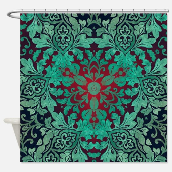 rustic bohemian damask pattern Shower Curtain