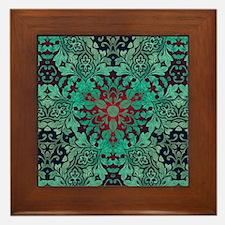 rustic bohemian damask pattern Framed Tile