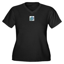 hippo Women's Plus Size V-Neck Dark T-Shirt