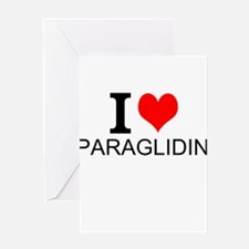 I Love Paragliding Greeting Cards