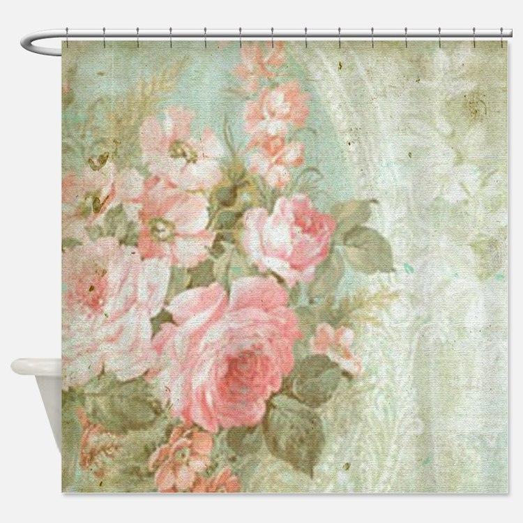 Vintage Floral Shower Curtains Vintage Floral Fabric