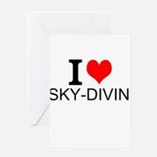 I Love Sky-Diving Greeting Cards