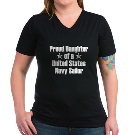 Proud Navy Daughter Star Women's V-Neck Dark T-Shi