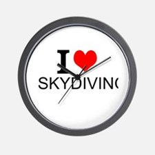 I Love Skydiving Wall Clock