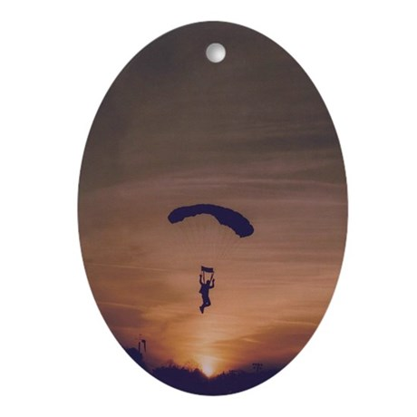 Oval Ornament with Sunset Skydiver