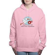 stork baby switz 2.psd Women's Hooded Sweatshirt