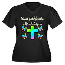 MIRACLES HAP Women's Plus Size V-Neck Dark T-Shirt