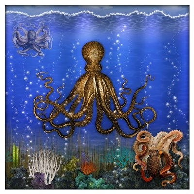 Octopus 39 lair colorful wall art canvas art for Colorful octopus painting