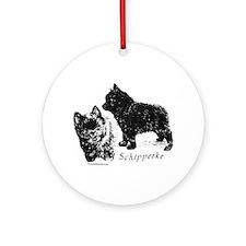 Schipperke puppy Round Ornament