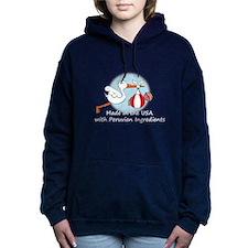 stork baby peru white 2. Women's Hooded Sweatshirt