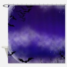 Purple Full Moon Night Bats Shower Curtain