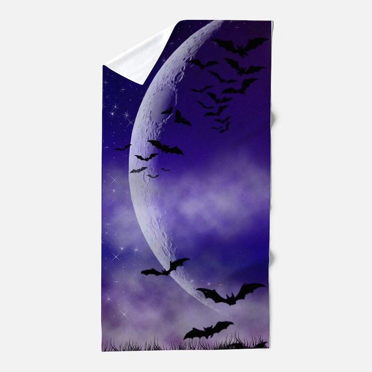 Purple Full Moon Night Bats Beach Towel