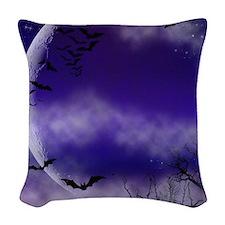 Purple Full Moon Night Bats Woven Throw Pillow