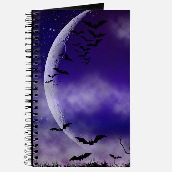 Purple Full Moon Night Bats Journal