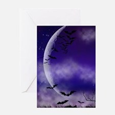 Purple Full Moon Night Bats Greeting Cards