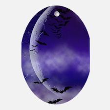 Purple Full Moon Night Bats Ornament (Oval)