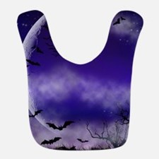 Purple Full Moon Night Bats Bib