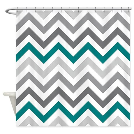 Gray And Teal Chevrons Shower Curtain By Laughoutlouddesigns1