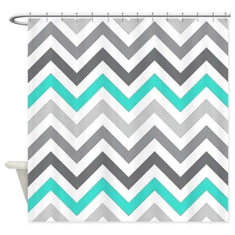 Gray And Turquoise Chevrons Shower Curtain By Laughoutlouddesigns1