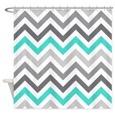 Gray and Turquoise Chevrons Shower Curtain