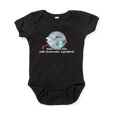 stork baby guat white 2.psd Baby Bodysuit