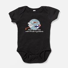 2-stork baby fin white 2.psd Baby Bodysuit