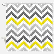 Gray and yellow Chevrons Shower Curtain