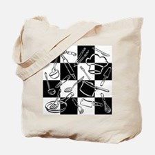 Kitchen Tools Checkerboard Tote Bag
