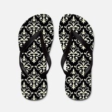 Cream & Black Damask 41 Flip Flops