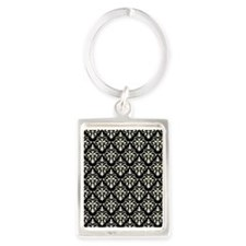 Cream & Black Damask 41 Portrait Keychain